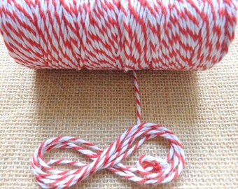 10m Red and White Bakers Twine 12ply 2mm 100 % Cotton Crafts