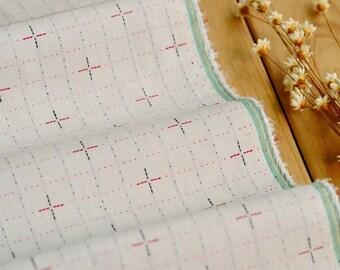 59 inch Width, Half Yard, Japanese Zakka Style Dyed Cross Grid Pattern Cotton Fabric