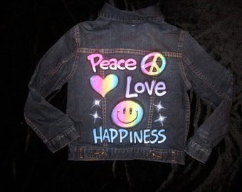 Airbrushed rainbow please love happiness denim jacket airbrushed