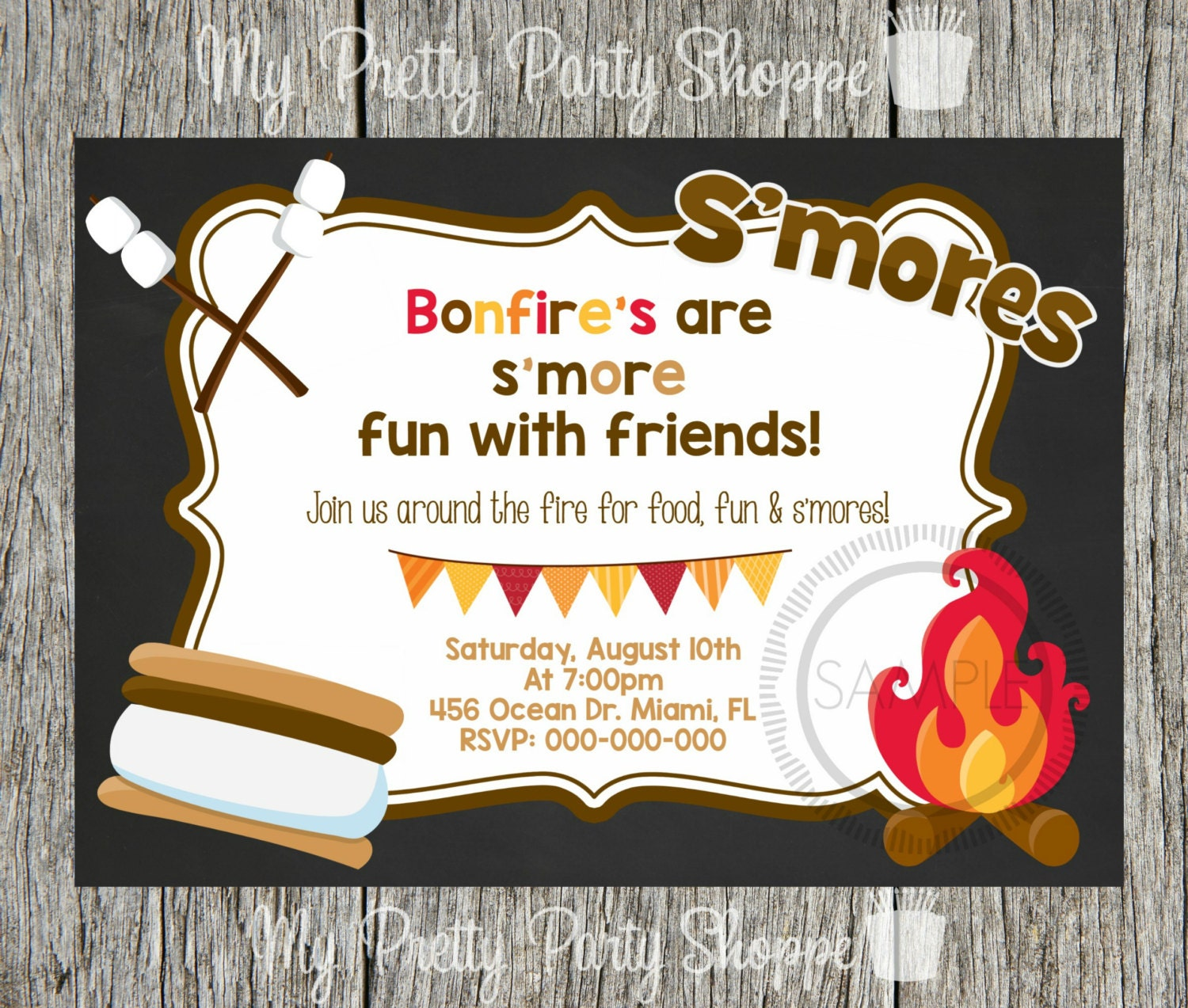 bonfire  fire pit  s'more  s'mores  camp  camping, invitation samples