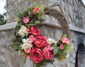 Summer wreath, Everyday wreath with Hydrangea, Pink Wild Roses, Peony,  Grapevine Wreath, Wild Rose,