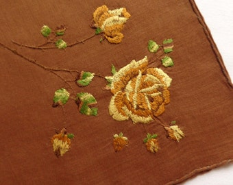 Brown fine cotton vintage handkerchief with embroidered flowers
