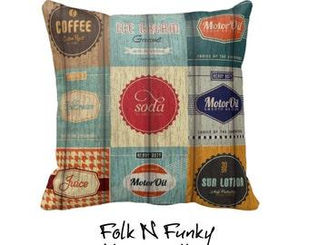 Throw Pillow Sofa Pillows Retro Design Grunge Primitive Advertising Signs Vintage Inspired