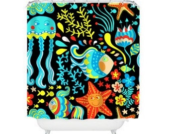 Sea Life Shower Curtain Octopus Fish Starfish