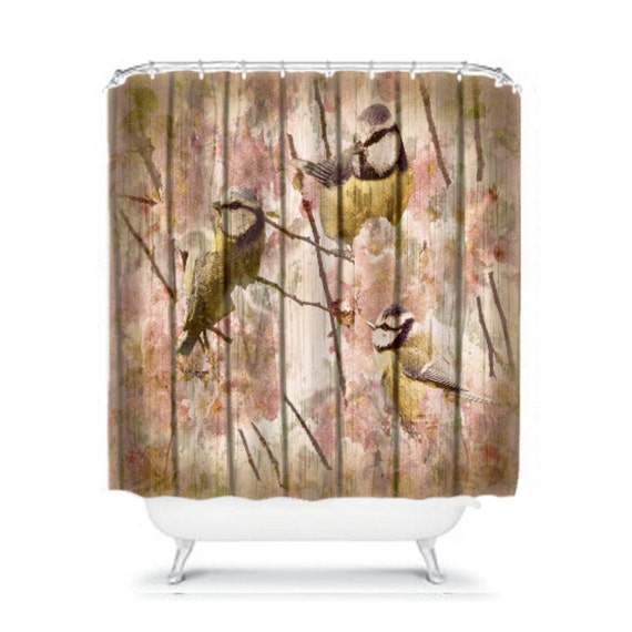 Shabby Chic Birds Floral Shower Curtain Weathered Wood Vintage ...