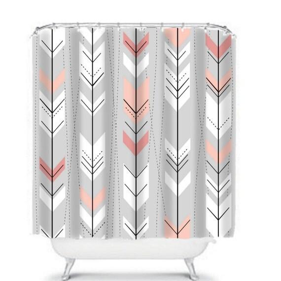 Tribal Pattern Shower Curtain Gray Peach Retro by FolkandFunky