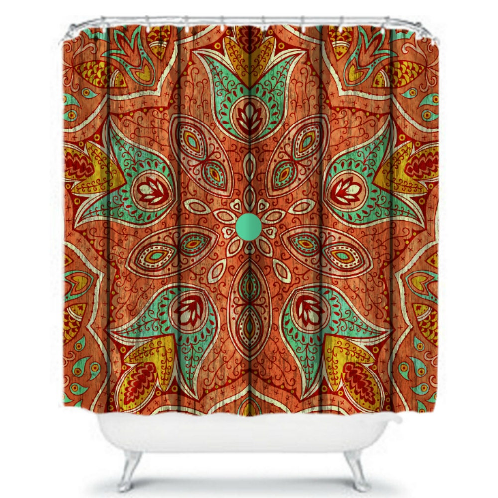 Unique Mandala Sun Design Bohemian Waterproof Shower Curtain. Have you ever seen a cool Bohemian sun before? This is what it looks like! 🙂 This is a fun and affordable Bohemian shower curtain to brighten up and 'color up' your bathroom!