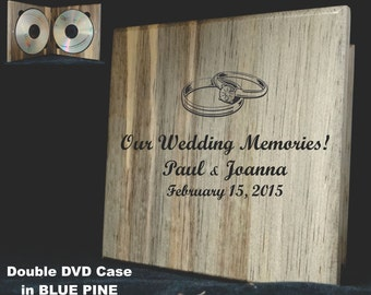 DOUBLE Wooden DVD Cases - Personalized case securely holds TWO DVDs. Great as wedding gift, bridal party gift and for parents of newlyweds