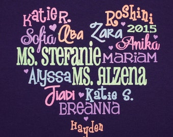 Team or Group T-shirt! Customize with the names of the girls in your troop, team, class or other group!