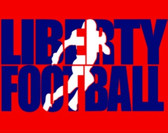 Custom Football Team T-shirt. Customize for your team name (Liberty shown), team colors and player number!