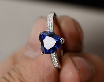 Sapphire Ring Silver Gemstone Ring Heart Lab Sapphire Ring Promise Ring