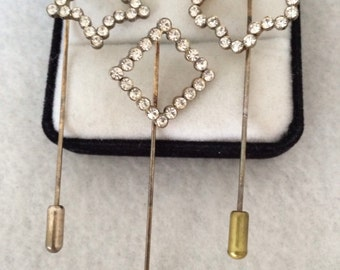 Lovely Three Vintage Rhinestone Fun Hat Pin Stick Pin brooches