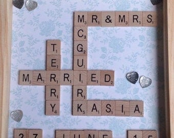 Scrabble Art Wedding/Wedding Anniversary Frame, Scrabble Frame, Scrabble Tiles, Wedding, Wedding Anniversary