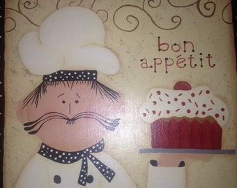 Whimsical Italian Chef Handpainted Wood Plaque Bon Appetite