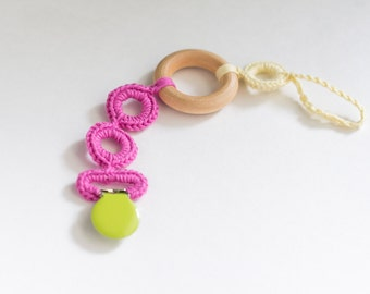 Pacifier Clip Girl, Pacifier Holder, Natural Teether, Chew Beads, Teething Ring, Baby Gift Crochet