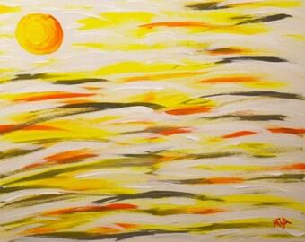 Sunset Yellow Orange Large Acrylic Abstract