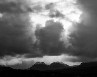 Stormy clouds over Benn an Eoin, Scotland, UK