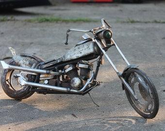 Scrap Metal Motorbike Sculpture - Chopper - Original Artwork - Recycled Materials - Repurposed - Reclaimed