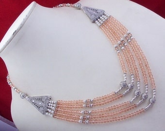 free shippings  ms-3 stunning Champion quartz .925 silver jewelry beaded necklace