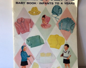 Vintage 1960 Knitting or Crochet Fleisher's Baby Book Pattern for Infants to 4 years