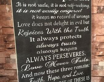 Love Is Patient Love Is Kind 1 Corinthians Rustic Primitive Distressd Wood Sign 16x24