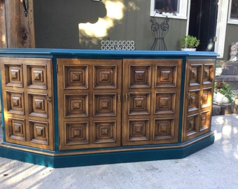 SOLD Retro Teal Drexel Buffet Cabinet