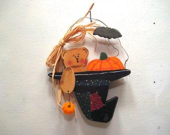 Halloween, Door, Wall, Hanger, Wood, Cut Out, Black, Witch, Hat, Decor, Teddy Bear, Bat, Pumpkin, Jack o Lantern, Trick or Treat, Decoration