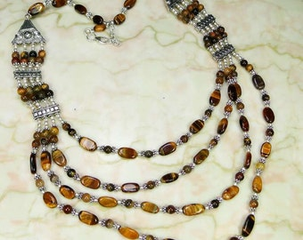necklace 925 sterling silver tiger eye