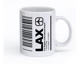 LAX Airport Mug, Los Angeles cup, LAX coffee Mug