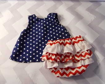 Baby Dress With Ruffled Bloomers, Navy and White Polka Dot, Red and White Chevron Bloomers with Ruffles, Sizes 0-3 - 18-24 Months