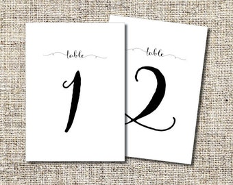 INSTANT DOWNLOAD Table Numbers 1-20 PDF Printable,  5 x 7 inch Table Numbers 1-20 Pdf, 4 x 6 inch Table Numbers 1-20 Pdf