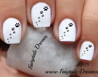 1110 Paw Prints 20 Water Slide Nail Art Transfer Decals stickers