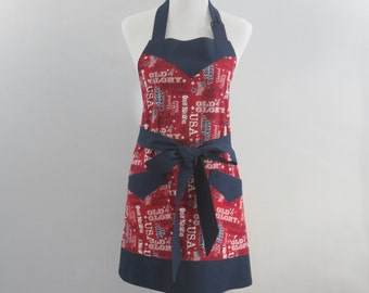 Womens Plus Size Patriotic Apron, Red, White & Blue, American USA Themed, Summer, 4th of July, Personalized, Bridal Shower Gift for Her