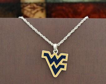 West Virginia Mountaineers Epoxy Logo Necklace