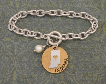 Indiana Love Toggle Bracelet with Pearl Accent - 22495