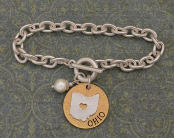 Ohio Love Toggle Bracelet with Pearl Accent - 22714
