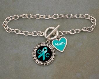 Custom Loved One Ovarian Cancer Awareness Bracelet