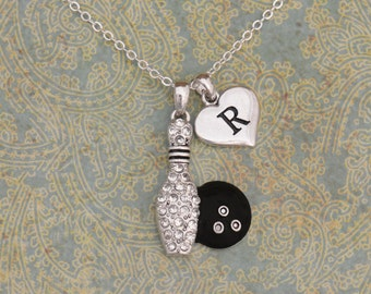 Custom Initial Bowling Necklace - 50564IN