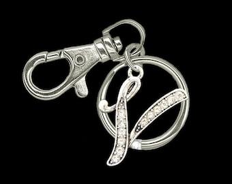 V Initial Keychain Zipper Pull