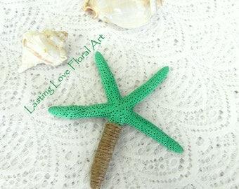 Star Fish Boutonniere, Beach Wedding Boutonniere, Sea Green Star Fish Boutonniere, Beach Wedding
