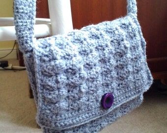 Handmade, crocheted handbag with purple lining and button fastening - only one available
