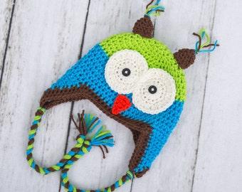 boy hat boy crochet hat boy owl hat toddler owl hat toddler boy hat earflap hat earflap owl hat newborn hat newborn photo prop