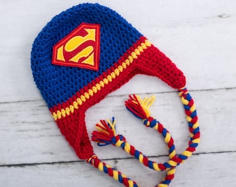 superman inspired hat baby boy superman hat newborn photo prop newborn hat baby boy hat toddler hat boy hat preschool hat