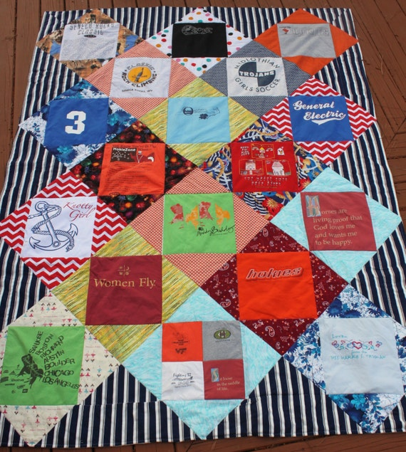 T Shirt Quilting Patterns : T-shirt Quilt Twin or Full Bed Diamond Pattern DEPOSIT ONLY