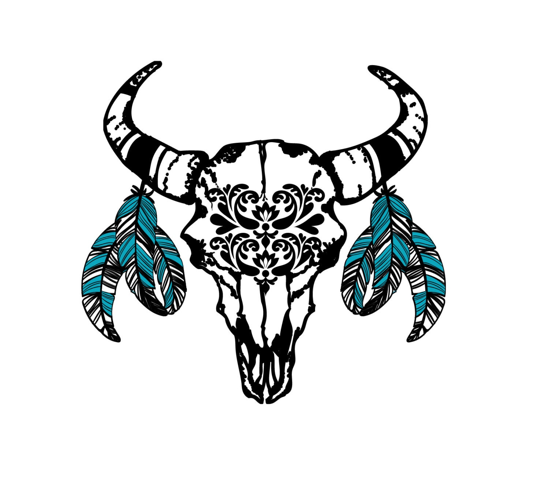bohemian bull head skull tattoo set of 2 festival