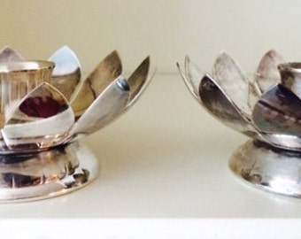 Silver Plate Lotus Flower Candlestick Holders