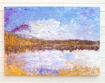 New Original impressionist painting Lakeside at Dusk landscape  Andi Lucas