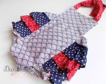 Girl's Ruffled  Patriotic Romper/Fourth Of July Romper/Toddler Romper
