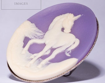 Purple Unicorn Cameo Ring
