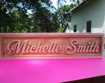 Personalized engraved wooden name plate for office , school or home 2.5in x 10in (Nc_MP_02)